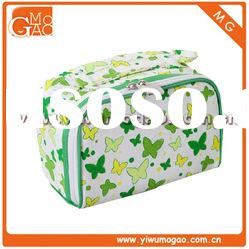 Fashion double zipper closure high-capacity butterfly printing simple handle canvas cosmetic bag