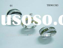 Fashion gemstone 925 sterling silver rings in pave setting TR901558