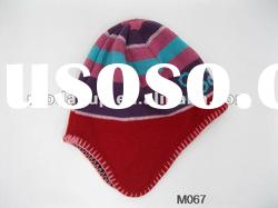 Fashion style acrylic winter knitted hat striped