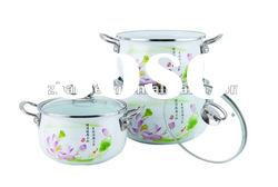 Flower Decal Enamel Pot With Stainless Steel Handle