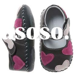 Girls' sweet heart designs soft soled leather baby shoes autumn BB-A27005-BR