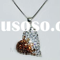 Heart 925 silver necklace with Rhinestone pendant M1163