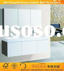 High Gloss Double Resin Basin Bathroom Cabinet With mirror cabinet