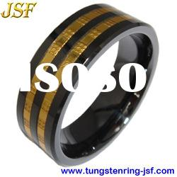 Hot sale mens black ceramic wedding rings with foil chain