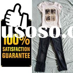 Hot sale second hand clothing ladies t shirts and jean pants with fashion style