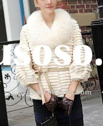 Korean style rabbit fur coat with fox collar