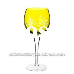 Large green wine glass with engraved pattern