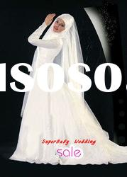 Latest MW016 long sleeve ball gown embroidered bridal muslim wedding dress