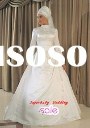 Latest MW020 long sleeve ball gown embroidered bridal muslim wedding dress