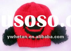 Latest design! Lovely Red Knitting Wool Hats For Kids