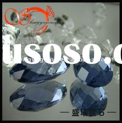 Light Blue Oval Faceted Decorative Artistic Glass Stone--AL-019