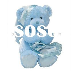 Lovely Plush Soft Blue Teddy bear with blanket