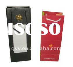 Luxury wine paper bags/shopping bag with PVC window/cotton rope handle