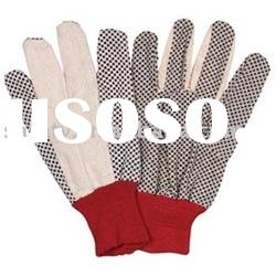 Men's 8OZ cotton with PVC dotted palm with wing thumb red knit wrist gloves