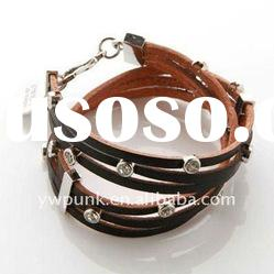 Mixedlot Exclusive Punk bangles brown multiturn pyramids accessories cow leather bracelets bangles