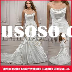 New design satin beaded pleated backless Spaghetti Strap mermaid style Wedding dress 2012