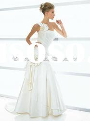 One Shoulder Strap Satin A-line Wedding Dress