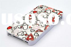 Protective Heart Print Hard Plastic IMD Back Case Cover For iPhone 4 4G 4S