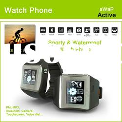 Quadband wrist watch phone with Bluetooth, Touchscreen