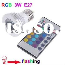 RGB 3W E27 Remote Control LED Bulb Light 16 Color Changing