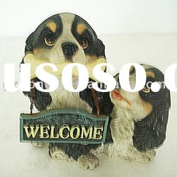 Resin dog garden decoration welcome sign