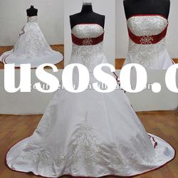 Satin Beaded Embroidered Red and White Wedding Dresses