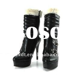 Warm black high heel leather women ankle boots in 2011 winter