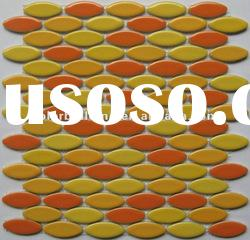 Warm feeling oval ceramic mix color glass mosaic tile
