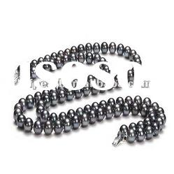 Wholesale 2 rows black freshwater pearl necklace