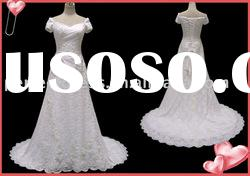 Wholesale long tail short sleeve lace wedding gowns RSC0148