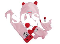 baby micro polar fleece hat glove and scarf with embroidery
