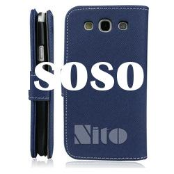 blue twill pattern phone gel case for samsung galaxy s3 i9300 leather case