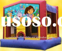 dora and animal inflatable moonwalker bouncer playground, inflatable jumping castle bouncer,