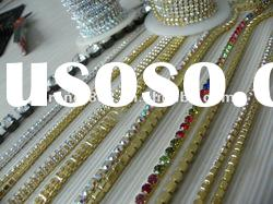 factory direct sale golden chains ,rhinestone chain trimming and crystal cup chain roll