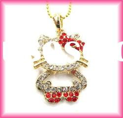 fashion hello kitty body gold plated crystal pendant necklace