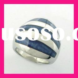 fashion stainless steel dark blue color epoxy resin womens gemstone finger championship ring jewelry