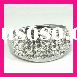 fashion white crystal polymer clay crystal diamond womens finger rings