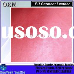fashionable embossed red pu leather fabric for jacket or garment