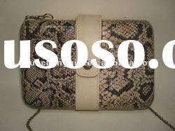 fashionable hard case bag, snake skin clutch bag,