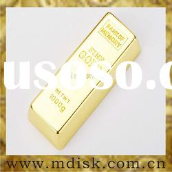 goden metal USB flash drive with gold bar shape