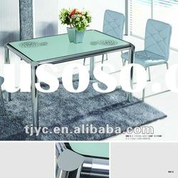 home furniture modern glass top metal dining table set