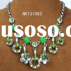 leather cord fashion dangle necklace with green resin and rhinestone handmade