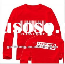 long sleeve printed t shirt plain red color T-shirt