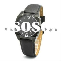 metal watch with leather strap