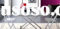 modern adjustable height extendable tempered glass dining table DE001