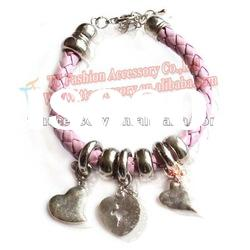 newest braid leather bracelets& bangles with alloy charms design