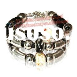 newest leather with alloy design bracelets& bangles