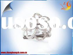plant shape 925 silver ring with CZ wax setting