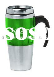 stainless steel and plastic mug with handle