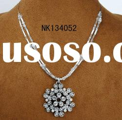 top fashion silver plating flower crystal pendant necklace for teenagers